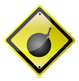 Bomb ahead sign Royalty Free Stock Photos