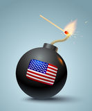 Bomb with american flag. Vector illustration of a bomb and match in fire and sparks. Bomb with american flag Stock Photos