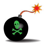 Bomb. Black bomb with green skull symbol and bones  on a white background Stock Photos