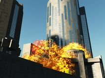 Bomb blast in the city 3D rendering Stock Photography