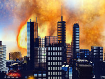 Bomb blast in New York. Illustration of Bomb blast in New York Royalty Free Stock Photography
