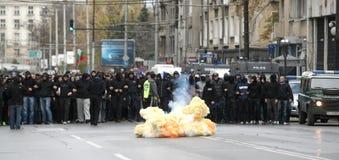 Bomb blast in the street. Fans of the football club Levski 1914 detonate bomb in Sofia Royalty Free Stock Image