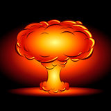 Bomb blast in style comics cartoons. Vector illustration of an explosion of a nuclear bomb in the style of a comic book on a dark background Royalty Free Stock Images