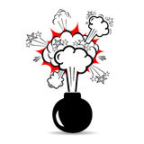 Bomb boom. Explosive bomb boom on white background Royalty Free Stock Photo