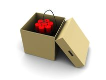 Bomb in the box. 3d illustration of dynamite in box over white background Stock Images