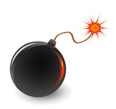 Bomb with burning fuse Royalty Free Stock Image