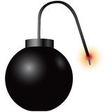 Bomb with burning fuse Royalty Free Stock Photos