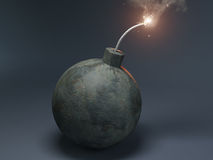 Bomb with a burning wick. 3D Render of an old style bomb with a burning wick Royalty Free Stock Photo