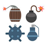 Bomb with burning wick vector illustration dynamite danger explosive weapon set Stock Images