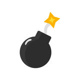 Bomb with burning wick vector illustration. Royalty Free Stock Images