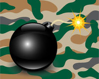 Bomb on camouflage background Stock Image