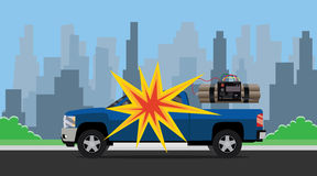 Bomb car explosion terrorist dynamite suv and city as background Stock Image
