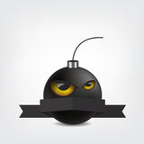 Bomb cartoon with eyes and ribbon Royalty Free Stock Images
