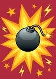 Bomb. Cartoon illustration of bomb with blasting background Royalty Free Stock Images