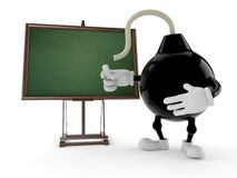 Bomb character with blank blackboard royalty free illustration