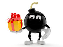 Bomb character holding gift Royalty Free Stock Photos