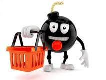 Bomb character holding shopping basket Royalty Free Stock Photos