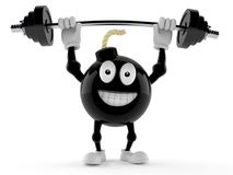 Bomb character lifting heavy barbell Stock Images