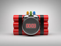 Bomb with clock timer 3D. Countdown. On gray background Royalty Free Stock Photo