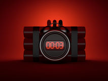 Bomb with clock timer 3D. Countdown. On red background Stock Photo