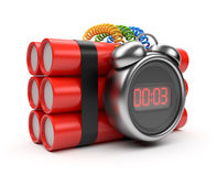Bomb with clock timer 3D. Countdown. Isolated. On white Royalty Free Stock Photography