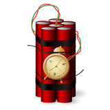 Bomb with clock timer icon  on white background. Red Bomb with clock timer icon  on white background Royalty Free Stock Photography