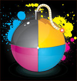 Bomb with colourful splashes. Vector illustration of colorful glossiness printing CMYK bomb in funny style with splashes of blue cyan, yellow, magenta paint on Stock Photo