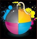 Bomb with colourful splashes Stock Photo