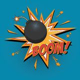 Bomb. Comic bomb and explosion for comics book. Vector cartoon illustration Royalty Free Stock Photos