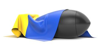 Bomb covered Ukraine flag. Separated on white Stock Image