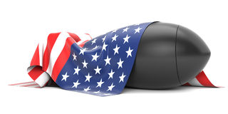 Bomb covered USA flag Stock Photo
