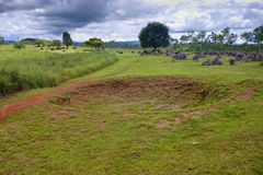 Bomb crater at Plain of Jars Royalty Free Stock Images