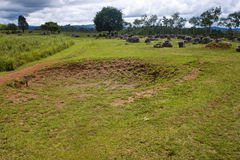 Bomb crater at Plain of Jars Royalty Free Stock Photography