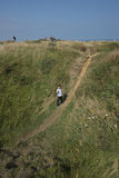 Bomb crater at the Pointe du Hoc, France Stock Images
