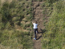 Bomb crater at the Pointe du Hoc, France Stock Photo