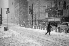 "Bomb Cyclone BW. NEW YORK-JANUARY 4: A snow filled street scene during the""Bomb Cyclone"" on January 4 2018 in lower Manhattan Stock Image"