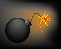 Bomb in darkness. Bomb before explosion in darkness stock illustration