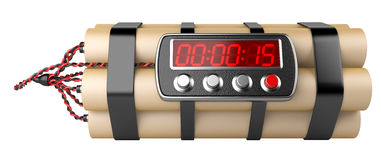 Bomb with digital clock timer Royalty Free Stock Images