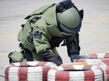 Bomb Disposal Expert in Bomb suit. For Explosive ordnance disposal royalty free stock image