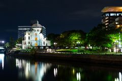 A bomb dome in Hiroshima at night Royalty Free Stock Image
