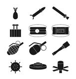 Bomb, dynamite and explosive vector icons set Royalty Free Stock Photography