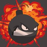 Bomb dynamite fuse vector illustration grenade attack power ball burning detonation explosion fire military destruction. Design aggression. Bomb grenade burning Stock Image