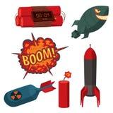 Bomb dynamite fuse vector illustration grenade attack power ball burning detonation explosion fire military destruction. Design aggression. Bomb grenade burning Stock Photos
