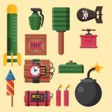 Bomb dynamite fuse vector illustration grenade attack power ball burning detonation explosion Stock Images