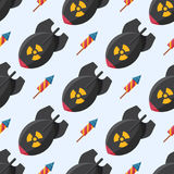 Bomb dynamite fuse vector illustration grenade seamless pattern attack power ball burning detonation explosion. Bomb dynamite fuse vector illustration seamless Royalty Free Stock Photography
