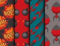 Bomb dynamite fuse vector seamless pattern background illustration grenade attack power ball burning detonation. Explosion fire military destruction design Stock Image