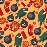 Bomb dynamite fuse vector seamless pattern background illustration grenade attack power ball burning detonation. Explosion fire military destruction design vector illustration