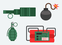 Bomb and dynamite vector illustration weapon explosion set. Set of bomb and dynamite explosive violence icons illustration. Bomb military weapon symbol explosive Stock Images