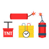 Bomb and dynamite vector illustration weapon explosion set. Set of bomb and dynamite explosive violence icons illustration. Bomb military weapon symbol explosive Royalty Free Stock Image