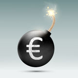 Bomb with euro and burning wick. Vector Bomb with euro and burning wick Royalty Free Stock Image